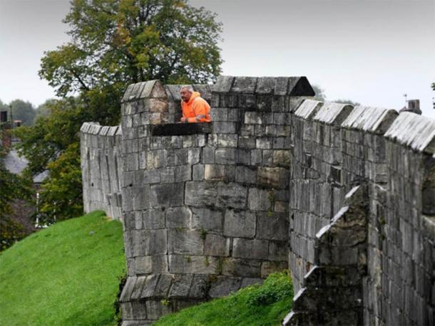 Rampart with crack, giving way to stress from weight of walkway. Simon Hulme / Yorkshire Post