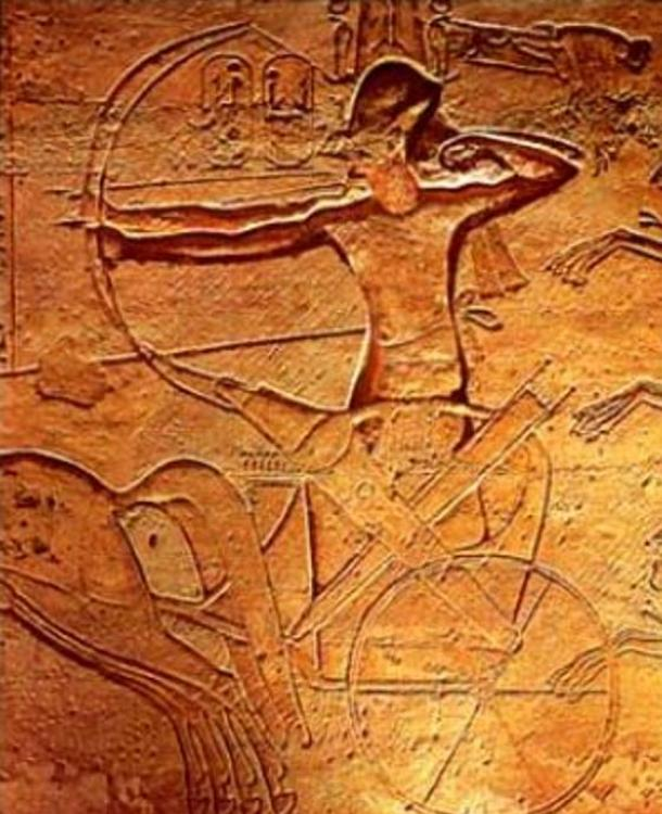 Ramses II at the Battle of Kadesh rides a chariot (relief at Abu Simbel).