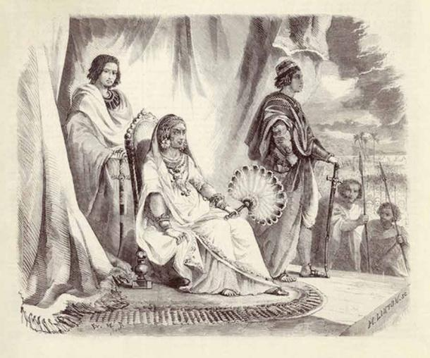 """Queen Ranavalona on her throne as she begins to change the legal system and adopts increasingly """"cruel"""" ways. (H. Linton / Public domain)"""