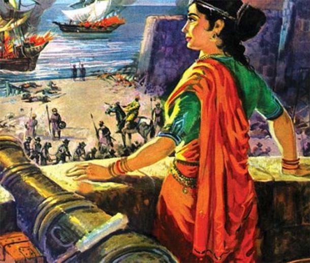 Rani Abbakka Chowta fighting the Portuguese. (YouTube Screenshot)