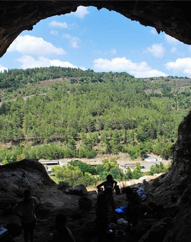 View from Raqefet Cave, Mount Carmel, Israel, where the giant mortars were found