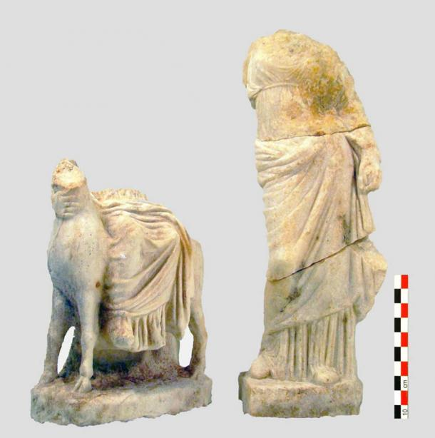 Rare headless Hermes statue found in one of the Piraeus port aqueduct wells