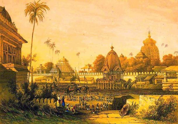 Painting depicting Ratha Yatra Festival in Puri, India. Circa 1840.