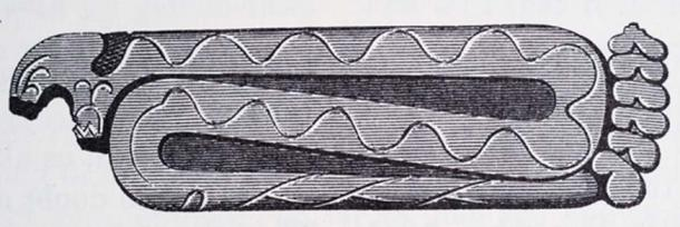 Rattlesnake tablet found at Hopewell Site. It possessed plumes carved into the sandstone near the head that probably represented feathers. Credit: Jerrel C. Anderson
