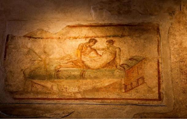 Raunchy frescoes uncovered in Pompeii.