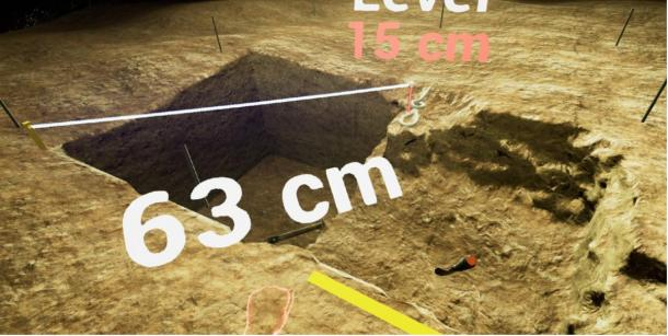 Readout of measurements in the virtual archaeology game. (University of Illinois / VR Archaeology)