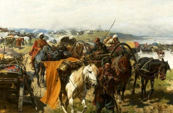"""Rear guard of Zaporozhians"" by Józef Brandt in National Museum in Warsaw. (Public Domain)"