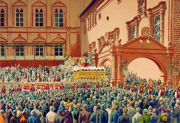 Reception of the Tsar of Russia in the Moscow Kremlin. (Public Domain)
