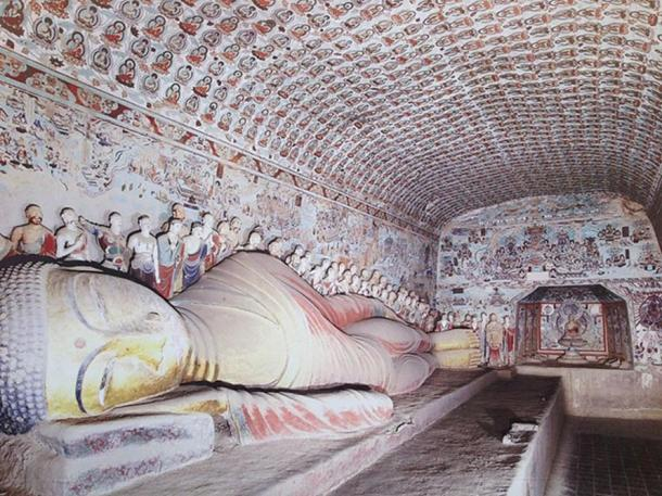 Reclining Buddha in cave 148, second largest reclining figure in Mogao. High Tang period