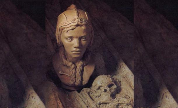 Reconstructed head of one of the children that may have been sacrificed for a double burial in Sunghir, Russia.