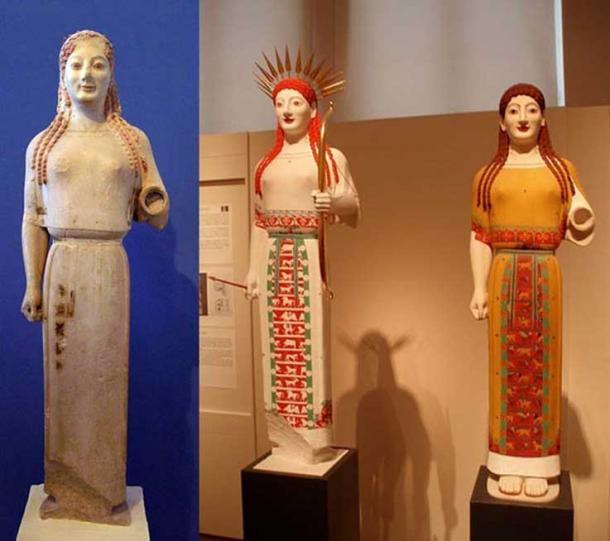 Left: 'Peplos Kore', circa 530 BC Right: Reconstructed in polychrome as Athena by Brinkmann team