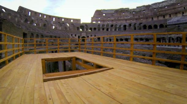 Reconstructed platform showing how wild animals were once raised into the arena of the Colosseum. Screenshot from 'Colosseum: Roman Death Trap – Releasing the Wolf'.