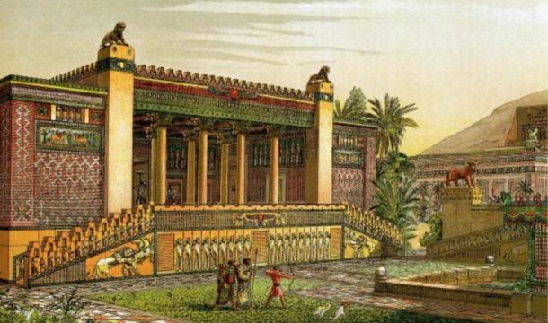 Reconstruction of the gardens and outside of the Palace of Darius I of Persia in Persepolis
