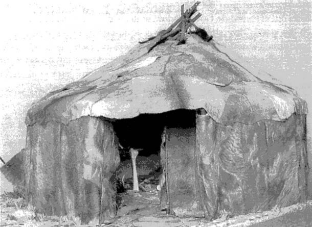 Reconstruction of Paleolithic housing in Mizyn.