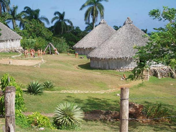 Reconstruction of Taino village, Puerto Rico.