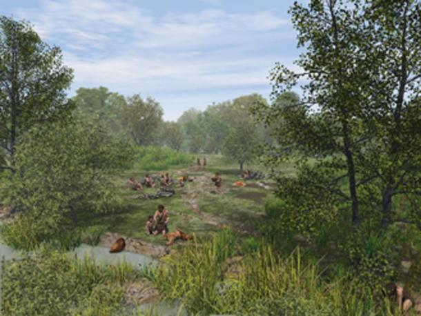 Reconstruction of a Mesolithic hunting camp site. (Wessex Archaeology / CC BY-SA 2.0)