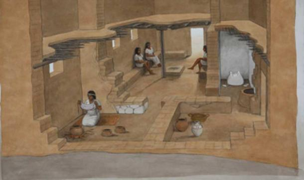 Reconstruction of a Philistine House from the 12th Century BC. Artist: Balage Balogh. Courtesy Leon Levy Expedition to Ashkelon