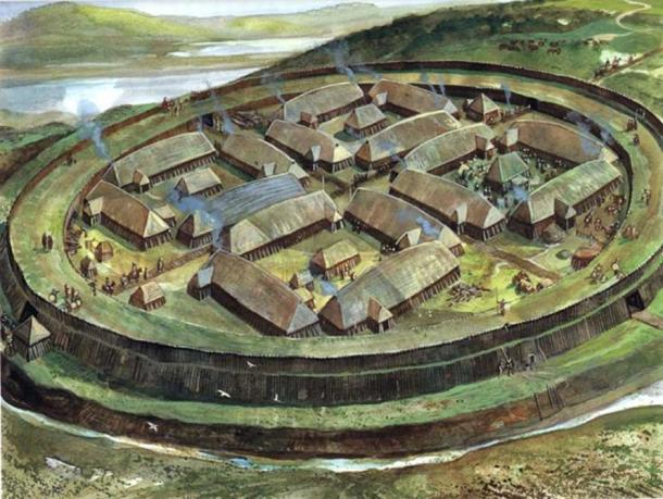 Reconstruction of a Viking ring fortress. Unknown artist