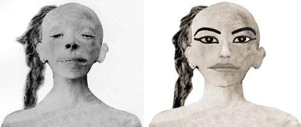 Reconstruction of a photo of the mummy of the mysterious boy, sans the deep gash on his neck and jaw. (Right) Artist's impression of how the child may have appeared whilst alive. This has led to comparisons with Tutankhamun's Khonsu statue. (Photos and art: G. Elliot Smith - Wikimedia Commons; and Tutankhaten-pasheri)