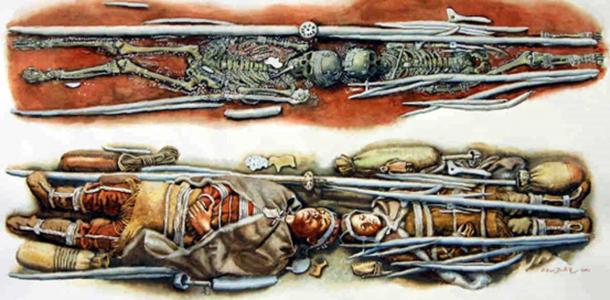 Reconstruction of an Ice Age burial in Russia, which included 6-ft-long spears made from straightened out mammoth tusk. Credit: Libor Balák