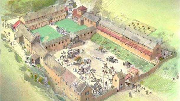 Reconstruction of the Chedworth Roman Villa in the 4th century where the Roman glass was discovered. (Rdacey / CC BY-SA 4.0)