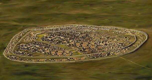 Reconstruction of the Trypillian city Maydanets c 4000 BC. (Kenny Arne Lang Antonsen/CC BY SA 4.0)