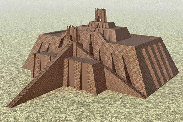 Reconstruction of the Ziggurat at Ur. (Public Domain)