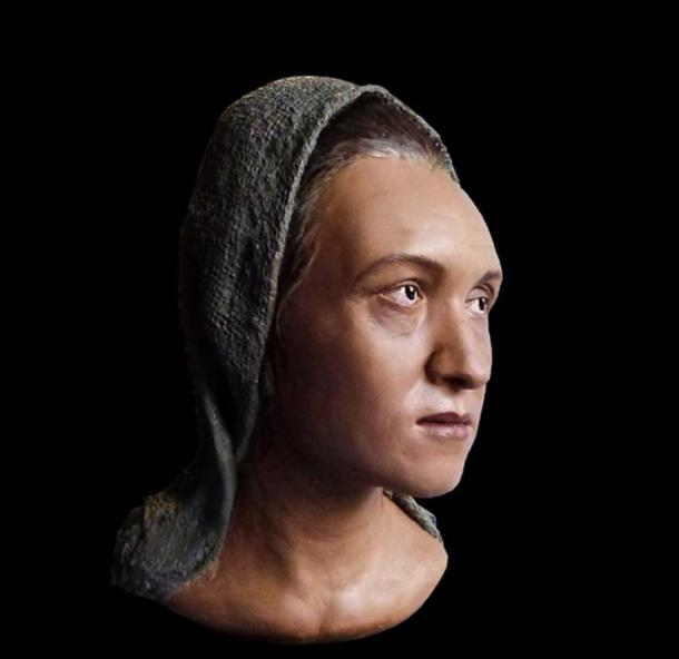 Reconstruction of the head of the Sarmati woman with an elongated skull. (Аркаим)
