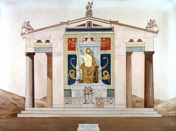 Reconstruction of the interior, altar and statue of temple of Aesculapius at Epidaurus.