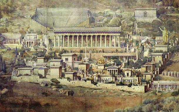 Reconstruction of the sanctuary of Apollo at Delphi in an 1894 painting by Albert Tournaire, now at École nationale supérieure des Beaux-Arts
