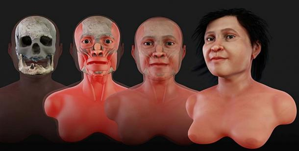 Reconstruction process to recreate the face of Eva of Naharon, who would have lived about 13,600 years ago.(Cicero Moraes/CC BY 4.0)