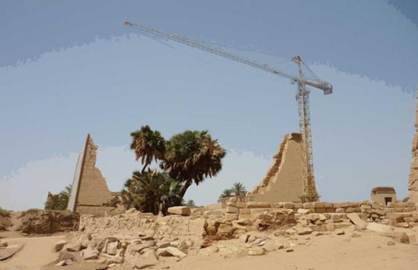 Reconstruction work on a pylon at Karnak