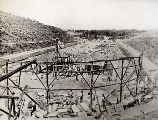 Reconstruction of the Panathenaic Stadium before the 1896 Olympic Games. (Panathenaic Stadium)