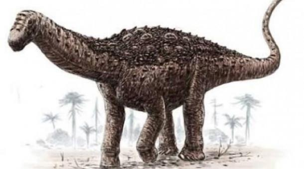 Reconstruction of the titanosaur. (Twitter/Federico Kukso)
