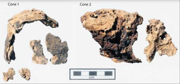 A reconstruction of the two cones, revealing they are hollow (Image courtesy of the Amarna Project via Antiquity Publications Ltd)