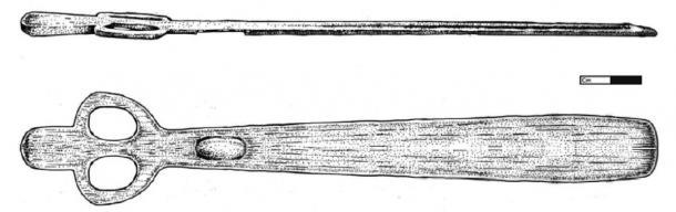 A reconstruction of a Par-Tee atlatl. (illustration by Emily Hull)