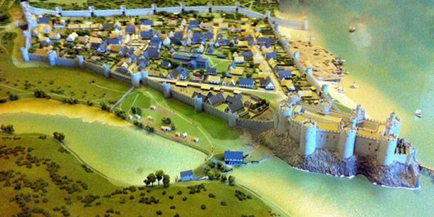Recreation of Conwy Castle, early 1300s. (Hchc2009/CC BY SA 3.0)