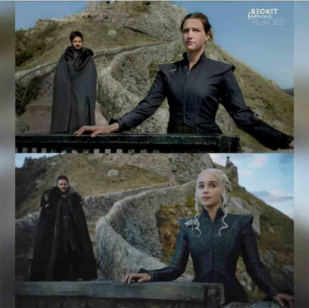 Robin and Judith recreated the scene from Game of Thrones where Jon Snow and Daenerys are on the steps leading to San Juan de Gaztelugatxe.  (Secret famous places / Facebook)