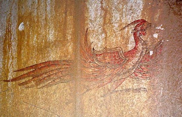 The Red Bird of the South painting, Kitora Tomb, Asuka, Japan