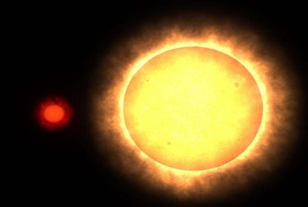 A Red Dwarf star beside the Sun. (Public Domain)