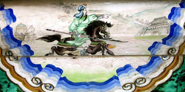 Guan Yu riding the Red Hare, as depicted in a mural in the Summer Palace, Beijing.