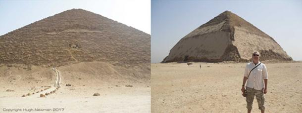 The Red Pyramid and Bent Pyramid of Dashur, with the author standing in front. Photos by Hugh Newman.