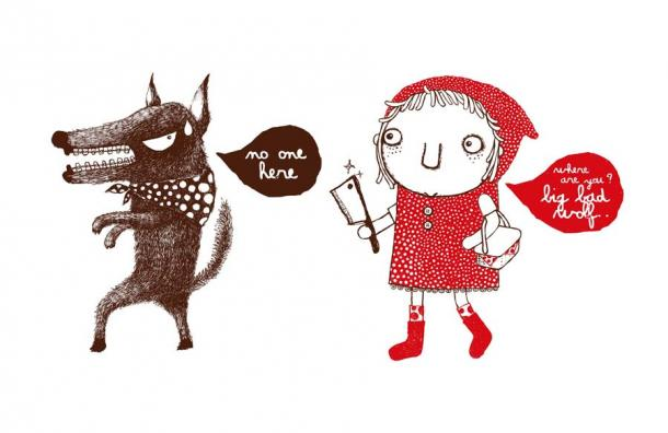 Little Red Riding Hood and the Big Bad Wolf, like the Japanese Okuri-Inu folktale, is a warning about what appears okay but isn't at all. (whateverittakes / Adobe Stock)