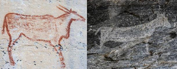 Comparison of Red and White Rock Art at Tsodilo
