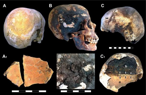 Red and black mineral incrustations detected in the victims' skulls. (Image: © 2018 Pierpaolo Petrone et al)