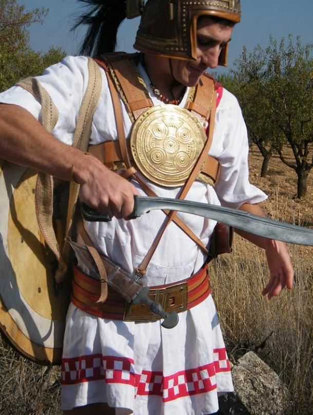Reenactor armed as an Iberian soldier with Falcata.