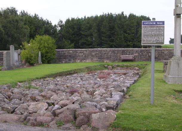 Relic of Antonine Wall in Bearsden cemetery.