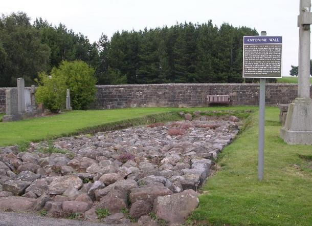Relic of Antonine Wall in Bearsden cemetery.