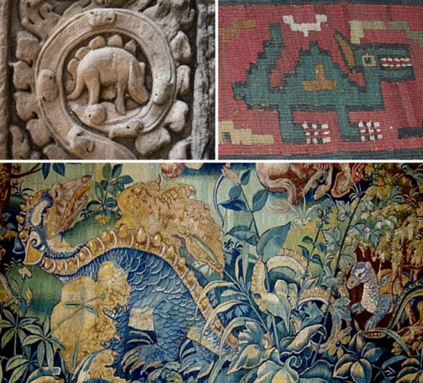 Top left: Relief carving at Angkor Wat, Cambodia (1186 AD). Top Right: Textile from Nazca, Peru (700 AD). Bottom: Tapestry in the Chateau de Blois (1500 AD)