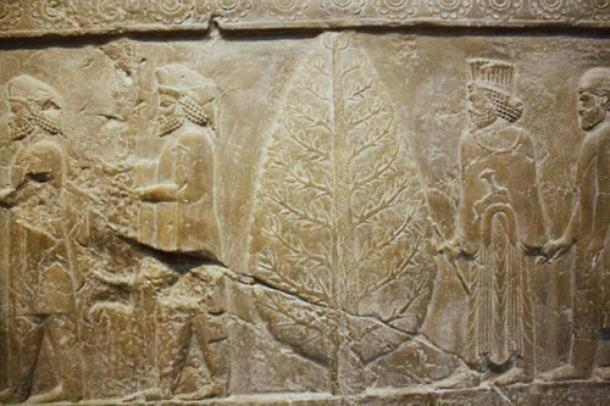 Relief carving at Persepolis, ceremonial capital of the Achaemenid Empire, depicting Mithra and an evergreen tree.